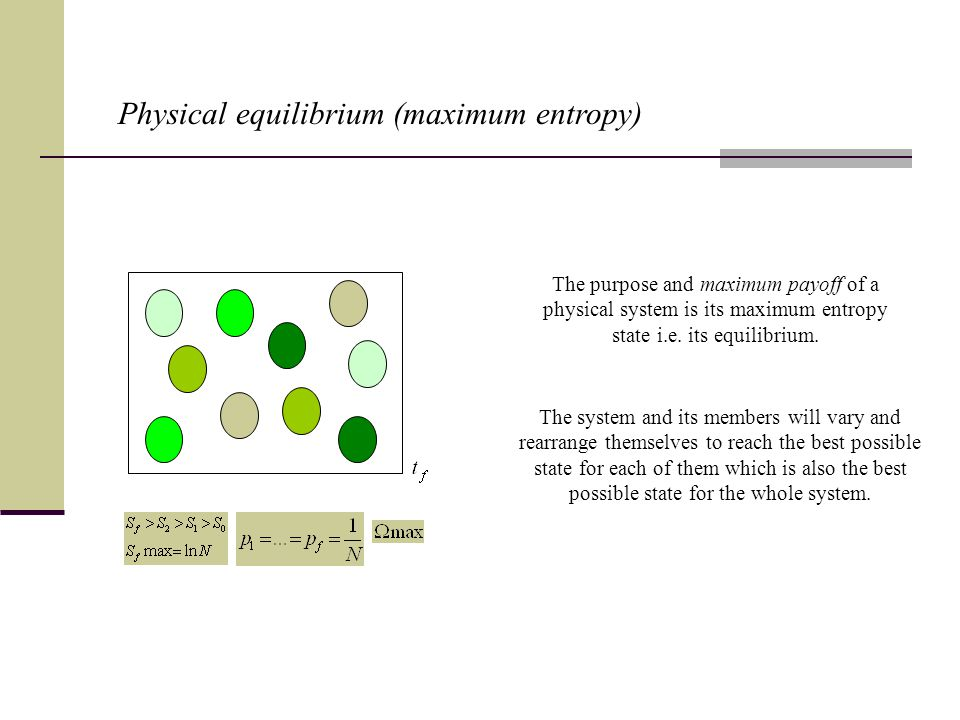 Physical equilibrium (maximum entropy) The purpose and maximum payoff of a physical system is its maximum entropy state i.e.