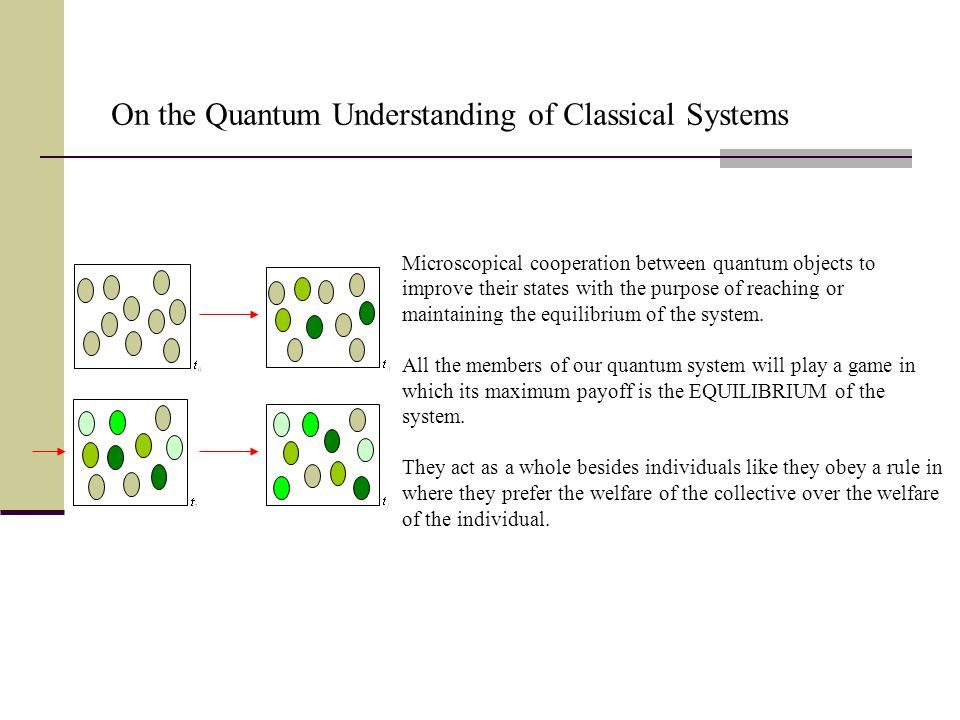 Microscopical cooperation between quantum objects to improve their states with the purpose of reaching or maintaining the equilibrium of the system.