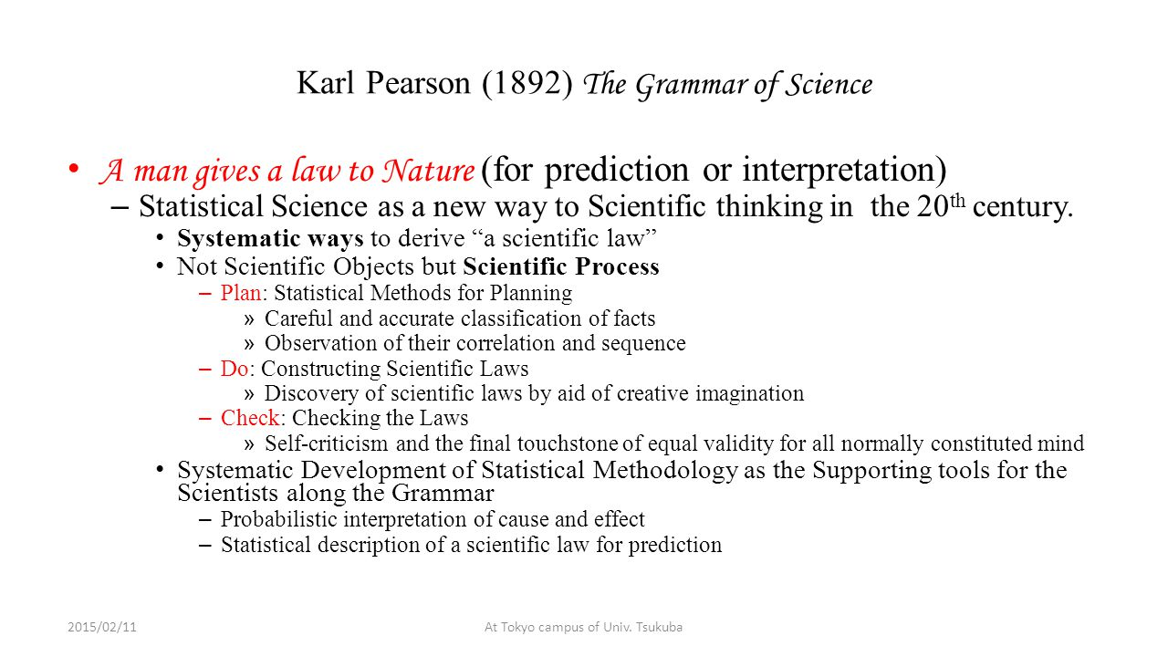 Karl Pearson (1892) The Grammar of Science A man gives a law to Nature (for prediction or interpretation) – Statistical Science as a new way to Scientific thinking in the 20 th century.