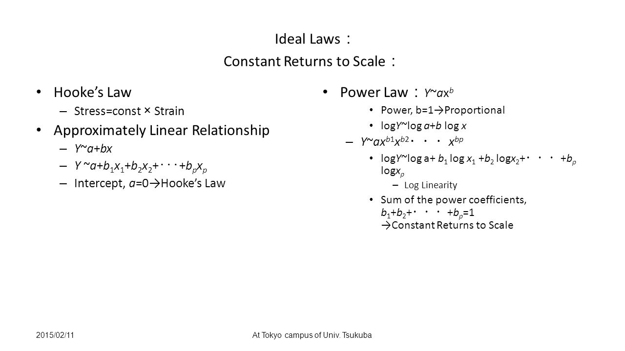 Ideal Laws : Constant Returns to Scale : Hooke's Law – Stress=const × Strain Approximately Linear Relationship – Y~a+bx – Y ~a+b 1 x 1 +b 2 x 2 + ・・・ +b p x p – Intercept, a=0→Hooke's Law Power Law : Y~ax b Power, b=1→Proportional logY~log a+b log x – Y~ax b1 x b2 ・・・ x bp logY~log a+ b 1 log x 1 +b 2 logx 2 + ・・・ +b p logx p – Log Linearity Sum of the power coefficients, b 1 +b 2 + ・・・ +b p =1 →Constant Returns to Scale 2015/02/11At Tokyo campus of Univ.