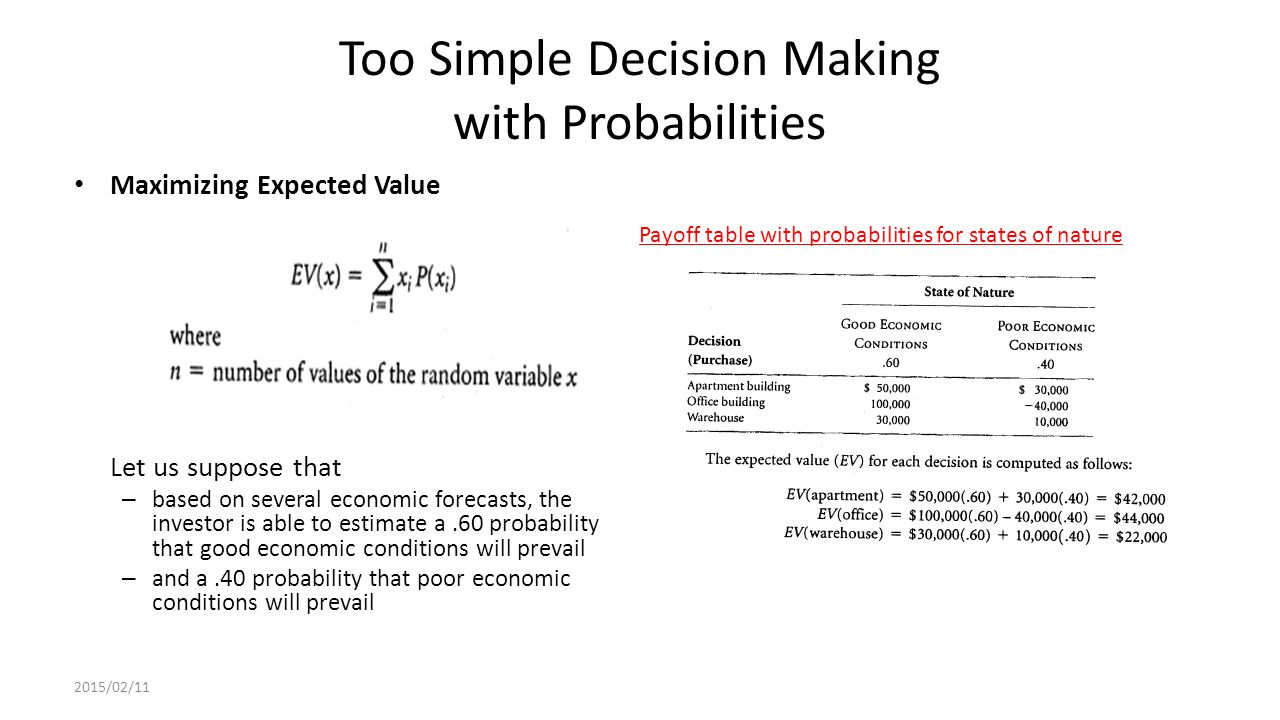 Too Simple Decision Making with Probabilities Maximizing Expected Value Let us suppose that – based on several economic forecasts, the investor is able to estimate a.60 probability that good economic conditions will prevail – and a.40 probability that poor economic conditions will prevail 2015/02/11 Payoff table with probabilities for states of nature