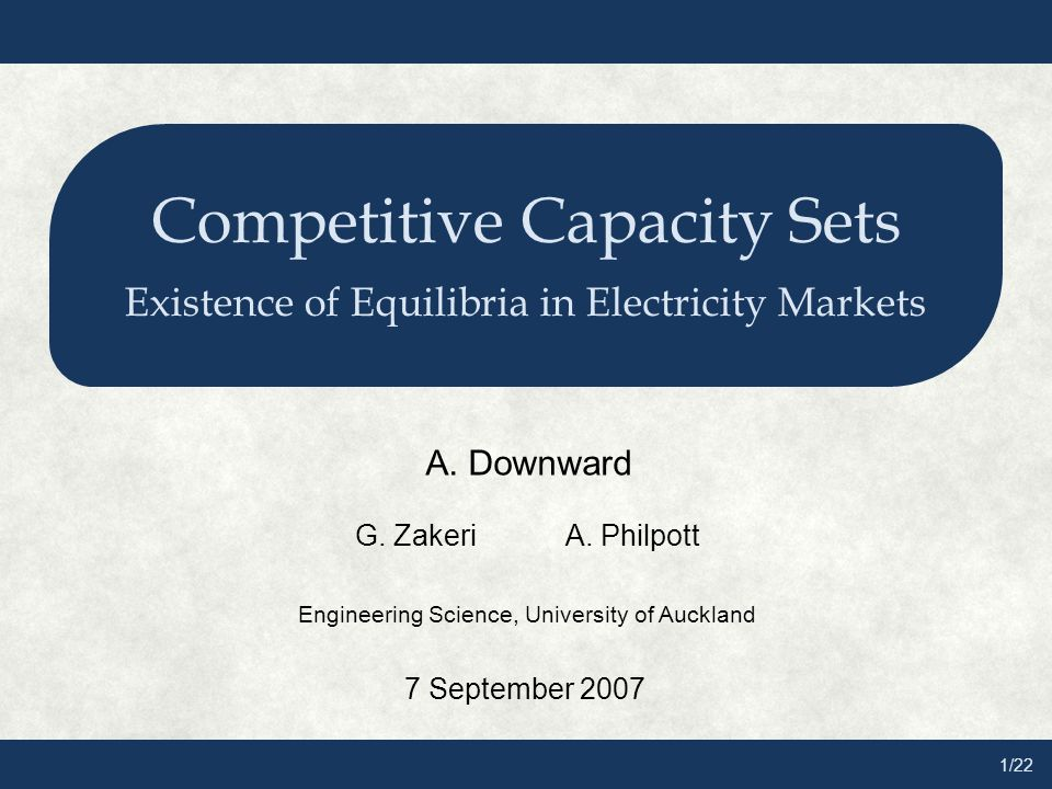 1/22 Competitive Capacity Sets Existence of Equilibria in Electricity Markets A.
