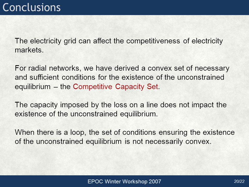 20/22 Conclusions The electricity grid can affect the competitiveness of electricity markets. For radial networks, we have derived a convex set of nec