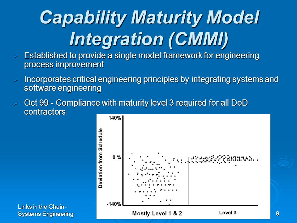 Links in the Chain - Systems Engineering9  Established to provide a single model framework for engineering process improvement  Incorporates critical engineering principles by integrating systems and software engineering  Oct 99 - Compliance with maturity level 3 required for all DoD contractors Capability Maturity Model Integration (CMMI)