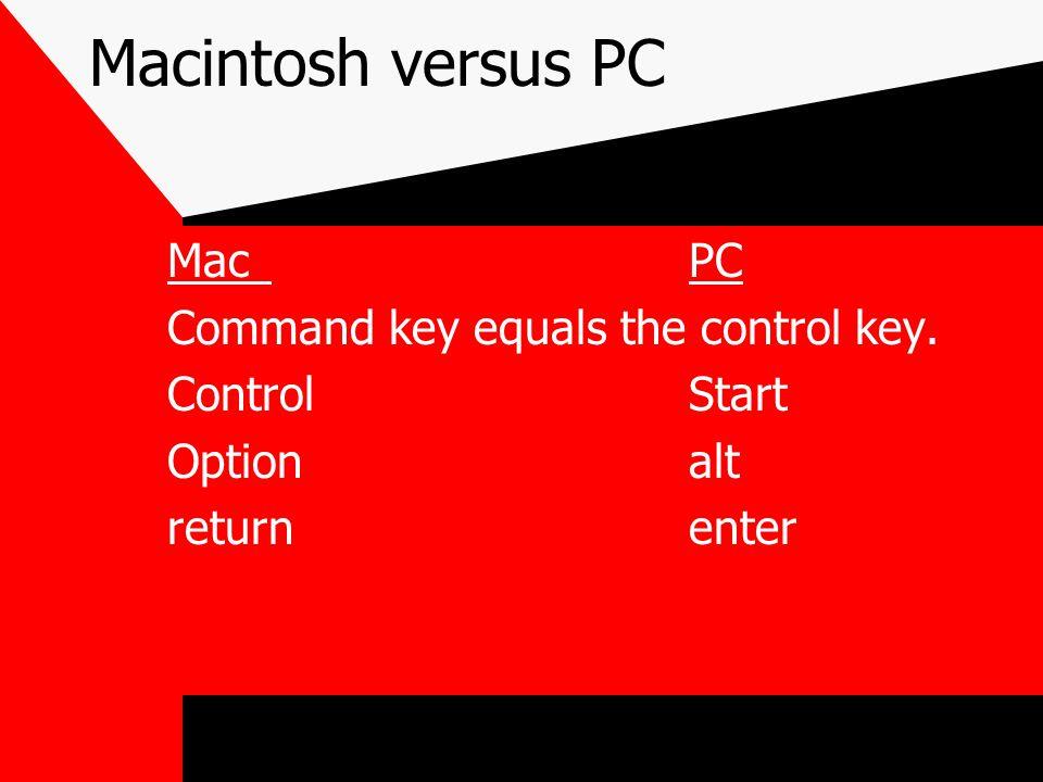 Macintosh versus PC MacPC Command key equals the control key. ControlStart Optionalt returnenter