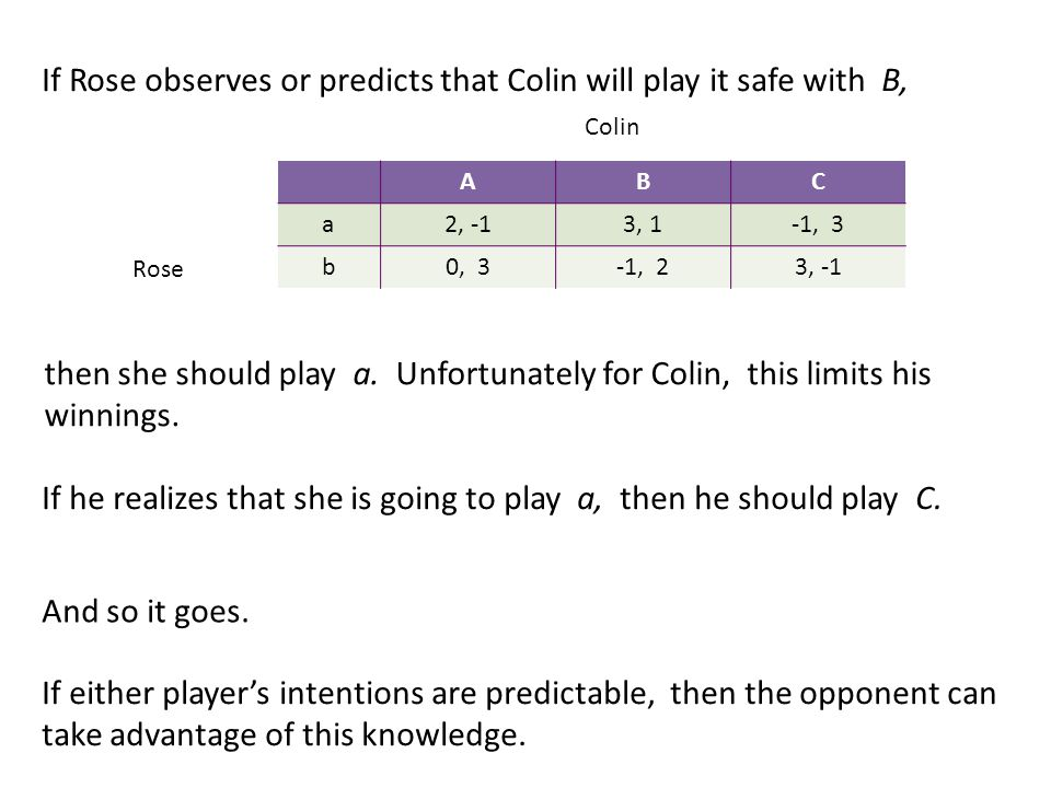 If Rose observes or predicts that Colin will play it safe with B, then she should play a.