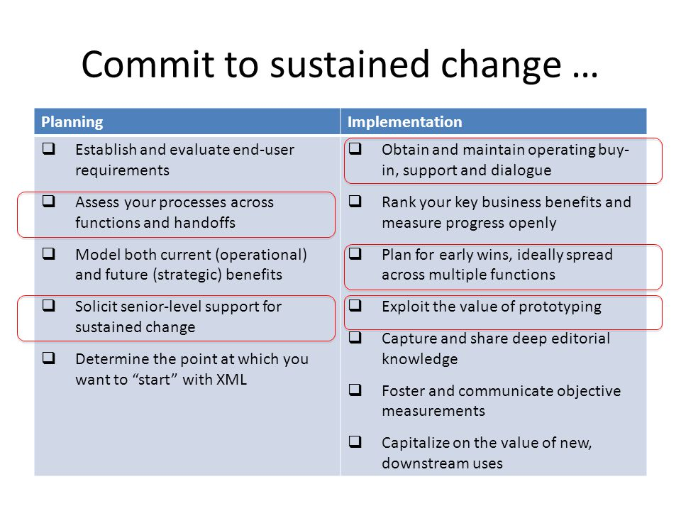 Commit to sustained change … PlanningImplementation  Establish and evaluate end-user requirements  Assess your processes across functions and handoffs  Model both current (operational) and future (strategic) benefits  Solicit senior-level support for sustained change  Determine the point at which you want to start with XML  Obtain and maintain operating buy- in, support and dialogue  Rank your key business benefits and measure progress openly  Plan for early wins, ideally spread across multiple functions  Exploit the value of prototyping  Capture and share deep editorial knowledge  Foster and communicate objective measurements  Capitalize on the value of new, downstream uses