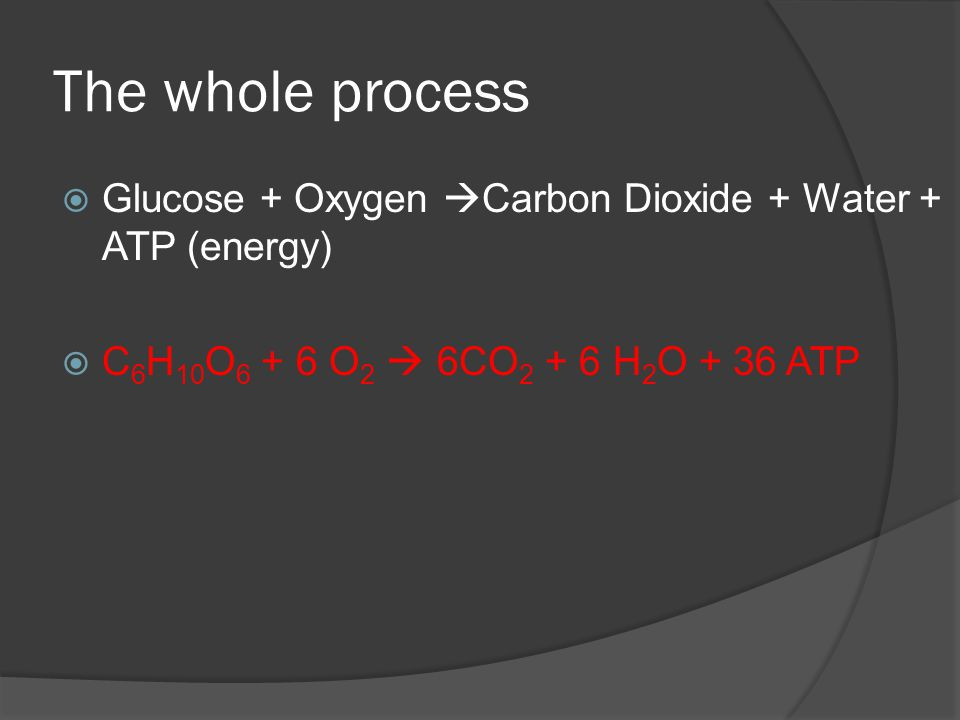 The whole process  Glucose + Oxygen  Carbon Dioxide + Water + ATP (energy)  C 6 H 10 O 6 + 6 O 2  6CO 2 + 6 H 2 O + 36 ATP