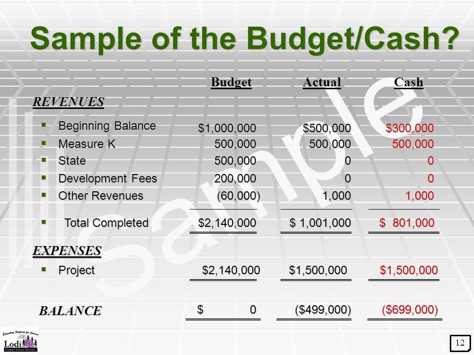 Sample Sample of the Budget/Cash?  Beginning Balance $500,000  Measure K 500,000 REVENUES BudgetActualCash 500,000  Project $1,500,000$2,140,000$1,