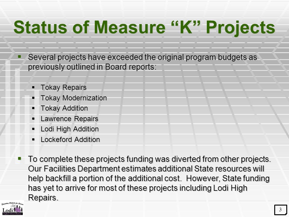 """Status of Measure """"K"""" Projects  Several projects have exceeded the original program budgets as previously outlined in Board reports:  Tokay Repairs"""