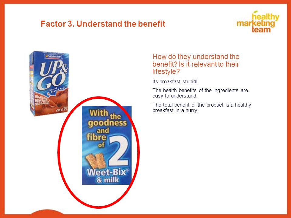 Factor 3. Understand the benefit How do they understand the benefit.