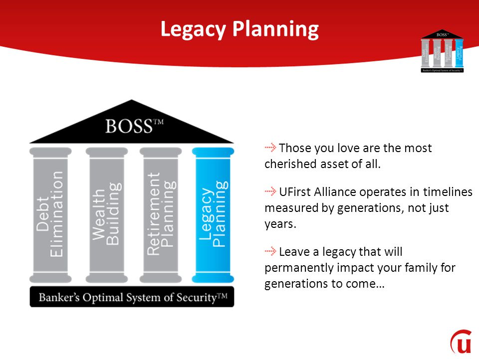 Legacy Planning Those you love are the most cherished asset of all. UFirst Alliance operates in timelines measured by generations, not just years. Lea