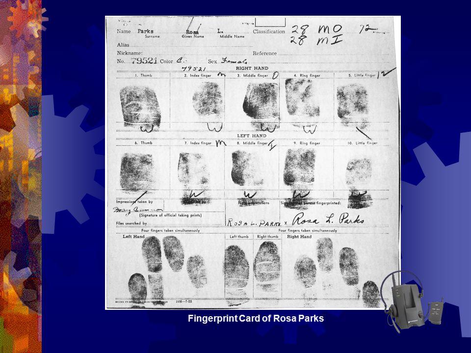 Fingerprint Card of Rosa Parks