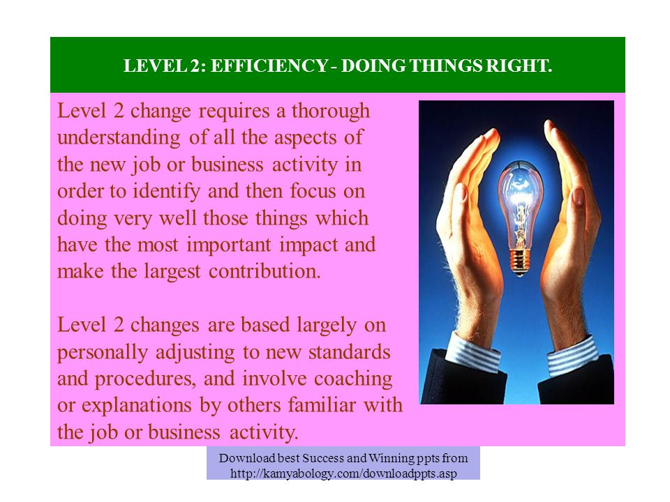LEVEL 2: EFFICIENCY - DOING THINGS RIGHT. Level 2 change requires a thorough understanding of all the aspects of the new job or business activity in o