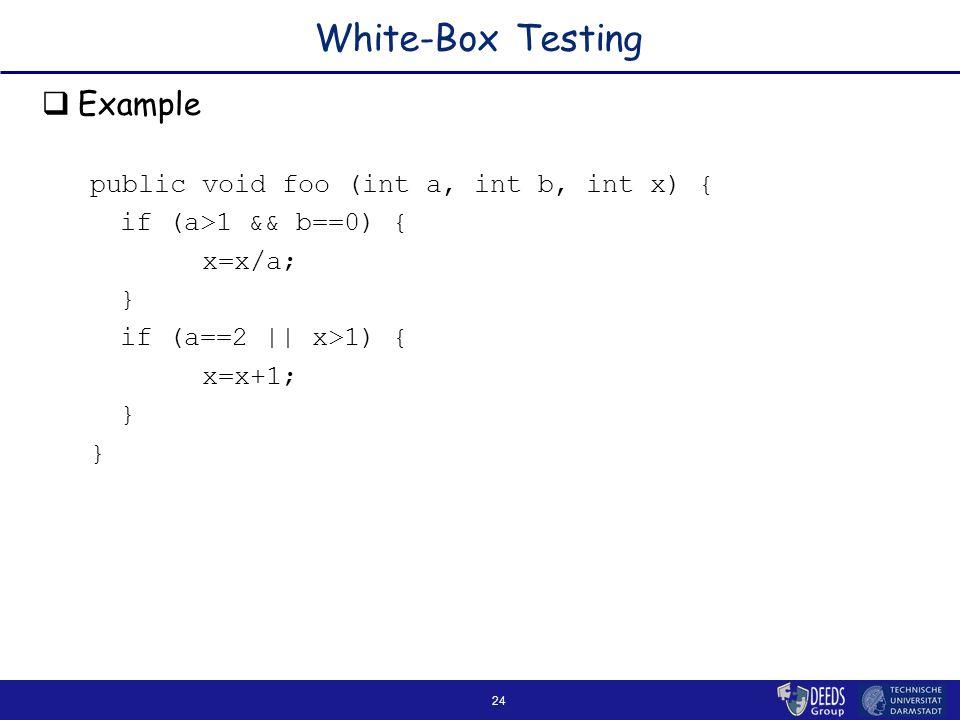 24 White-Box Testing  Example public void foo (int a, int b, int x) { if (a>1 && b==0) { x=x/a; } if (a==2 || x>1) { x=x+1; }