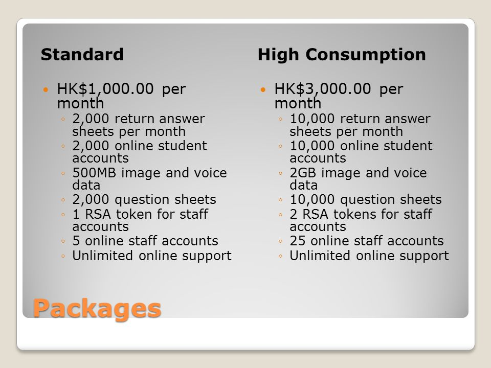 Packages StandardHigh Consumption HK$1,000.00 per month ◦2,000 return answer sheets per month ◦2,000 online student accounts ◦500MB image and voice data ◦2,000 question sheets ◦1 RSA token for staff accounts ◦5 online staff accounts ◦Unlimited online support HK$3,000.00 per month ◦10,000 return answer sheets per month ◦10,000 online student accounts ◦2GB image and voice data ◦10,000 question sheets ◦2 RSA tokens for staff accounts ◦25 online staff accounts ◦Unlimited online support