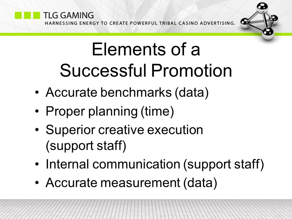 Elements of a Successful Promotion Accurate benchmarks (data) Proper planning (time) Superior creative execution (support staff) Internal communication (support staff) Accurate measurement (data)