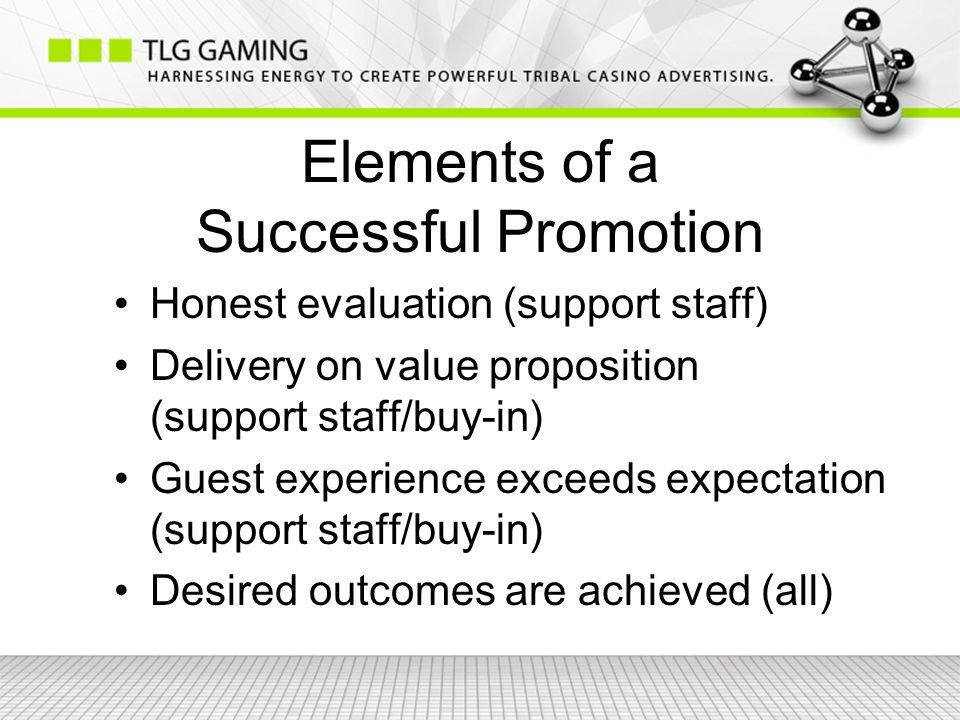 Elements of a Successful Promotion Honest evaluation (support staff) Delivery on value proposition (support staff/buy-in) Guest experience exceeds expectation (support staff/buy-in) Desired outcomes are achieved (all)