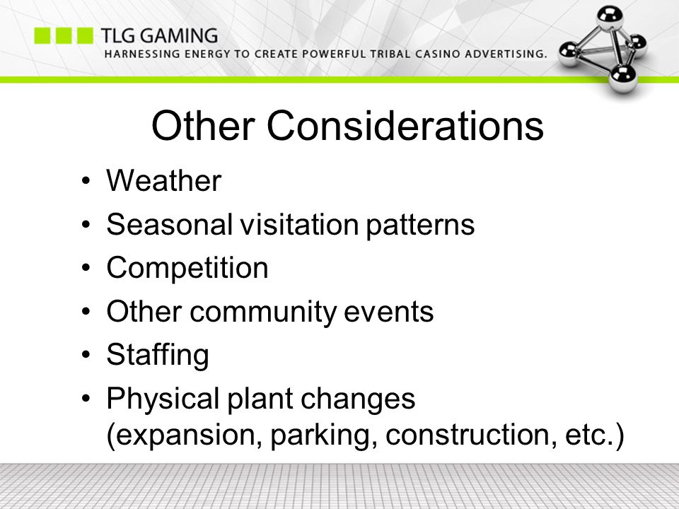 Other Considerations Weather Seasonal visitation patterns Competition Other community events Staffing Physical plant changes (expansion, parking, construction, etc.)