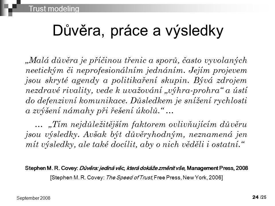 """24 September 2008 Důvěra, práce a výsledky Trust modeling """"Malá důvěra je příčinou třenic a sporů, často vyvolaných neetickým či neprofesionálním jednáním."""