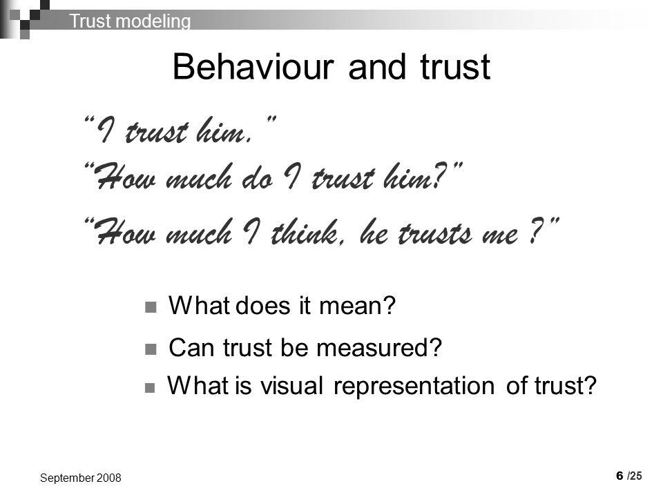 7 September 2008     Basic trust levels Blind trust Ignorance Absolute distrust   /25 Trust modeling