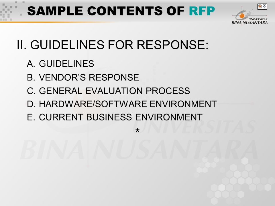 SAMPLE CONTENTS OF RFP II.