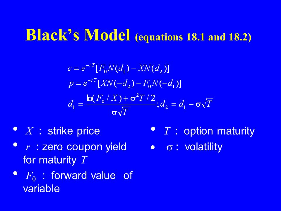 Black's Model (equations 18.1 and 18.2) X : strike price r : zero coupon yield for maturity T F 0 : forward value of variable T : option maturity  : volatility