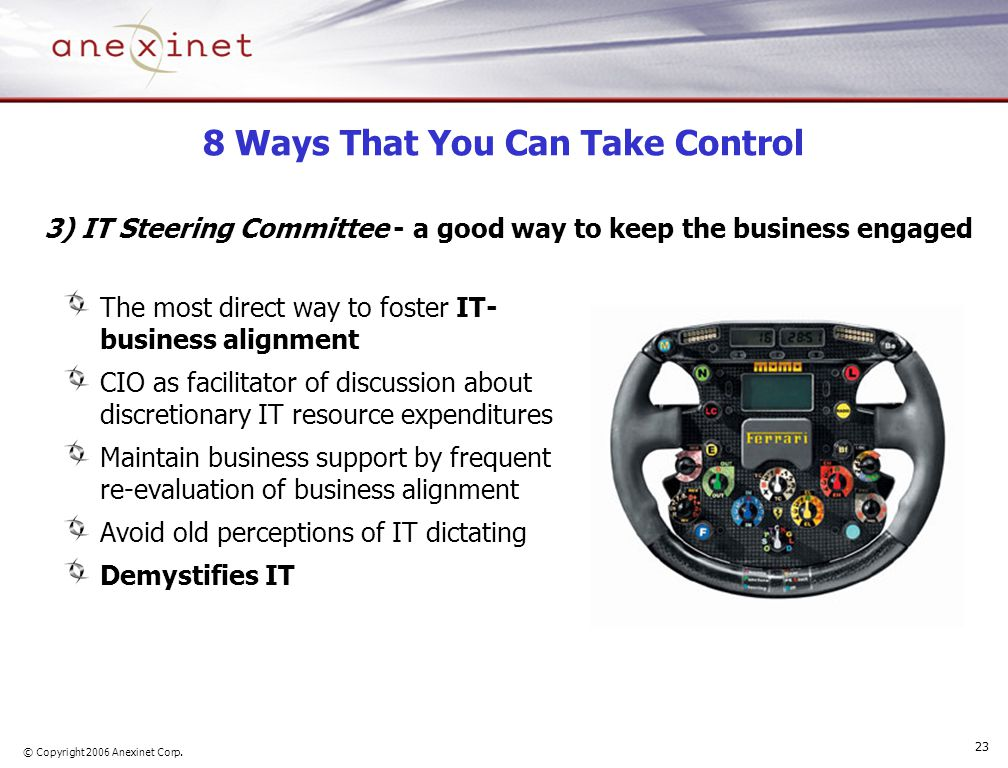 © Copyright 2006 Anexinet Corp. 23 8 Ways That You Can Take Control The most direct way to foster IT- business alignment CIO as facilitator of discuss