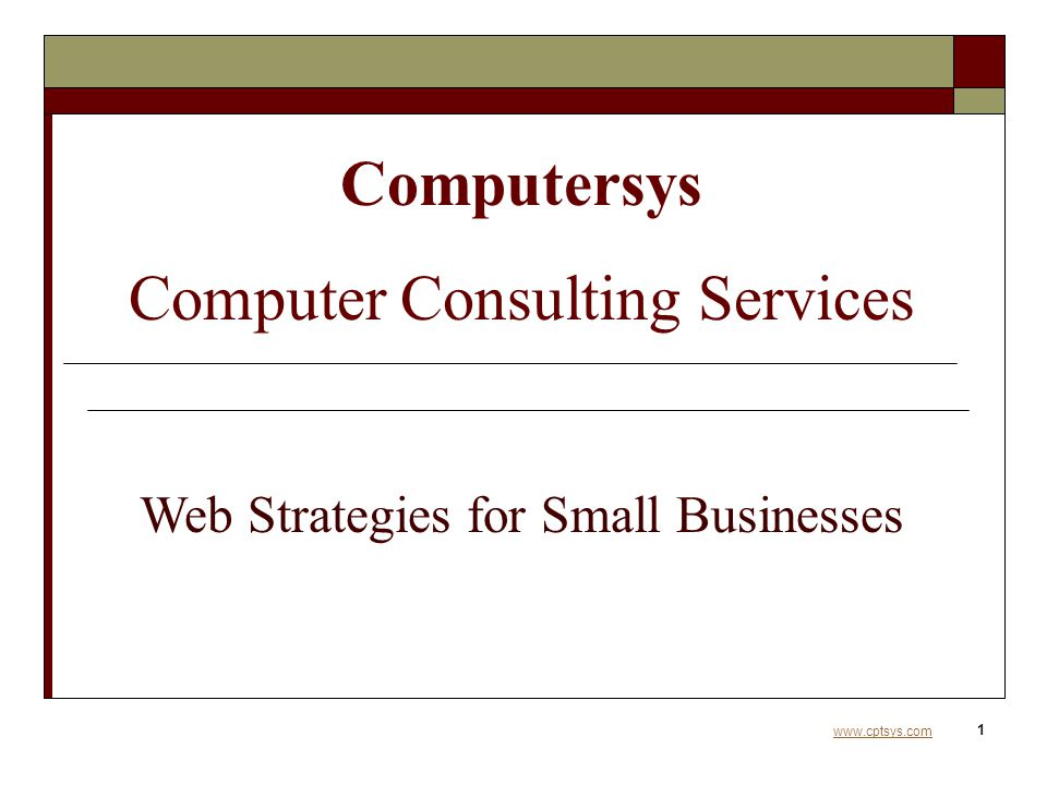 www.cptsys.com 1 Computersys Computer Consulting Services Web Strategies for Small Businesses