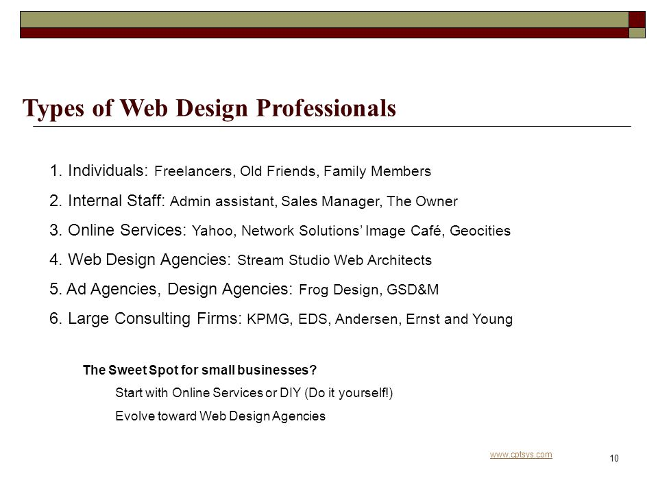 www.cptsys.com 10 Types of Web Design Professionals 1.