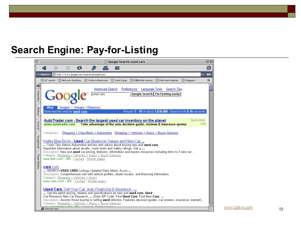 www.cptsys.com 19 Search Engine: Pay-for-Listing