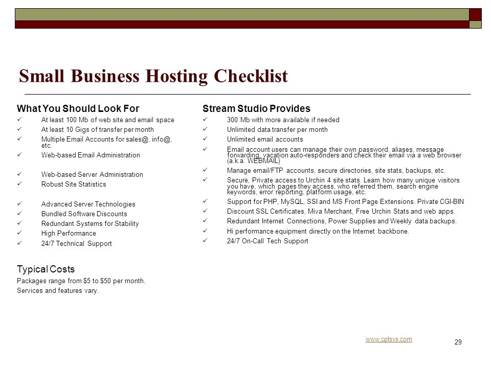 www.cptsys.com 29 Small Business Hosting Checklist What You Should Look For At least 100 Mb of web site and email space At least 10 Gigs of transfer per month Multiple Email Accounts for sales@, info@, etc.
