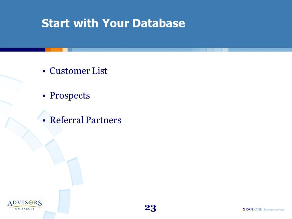 23 Start with Your Database Customer List Prospects Referral Partners