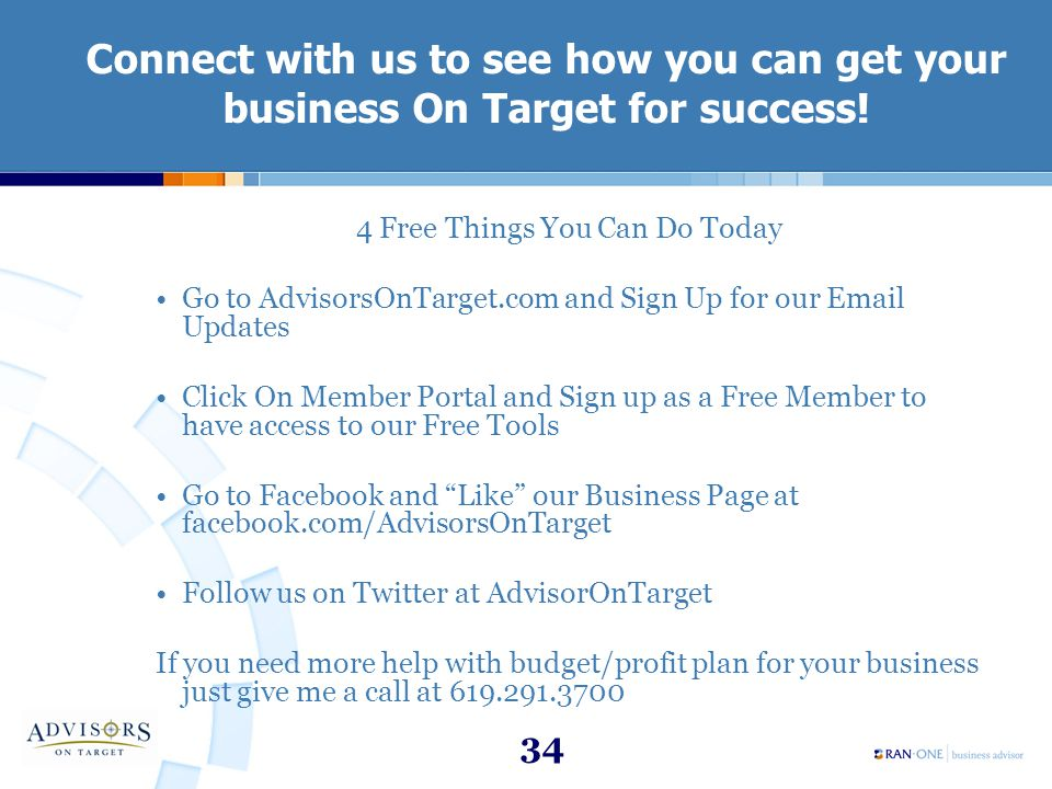 34 Connect with us to see how you can get your business On Target for success.