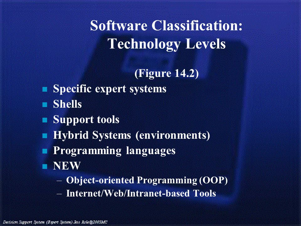 Software Classification: Technology Levels (Figure 14.2) n Specific expert systems n Shells n Support tools n Hybrid Systems (environments) n Programming languages n NEW –Object-oriented Programming (OOP) –Internet/Web/Intranet-based Tools