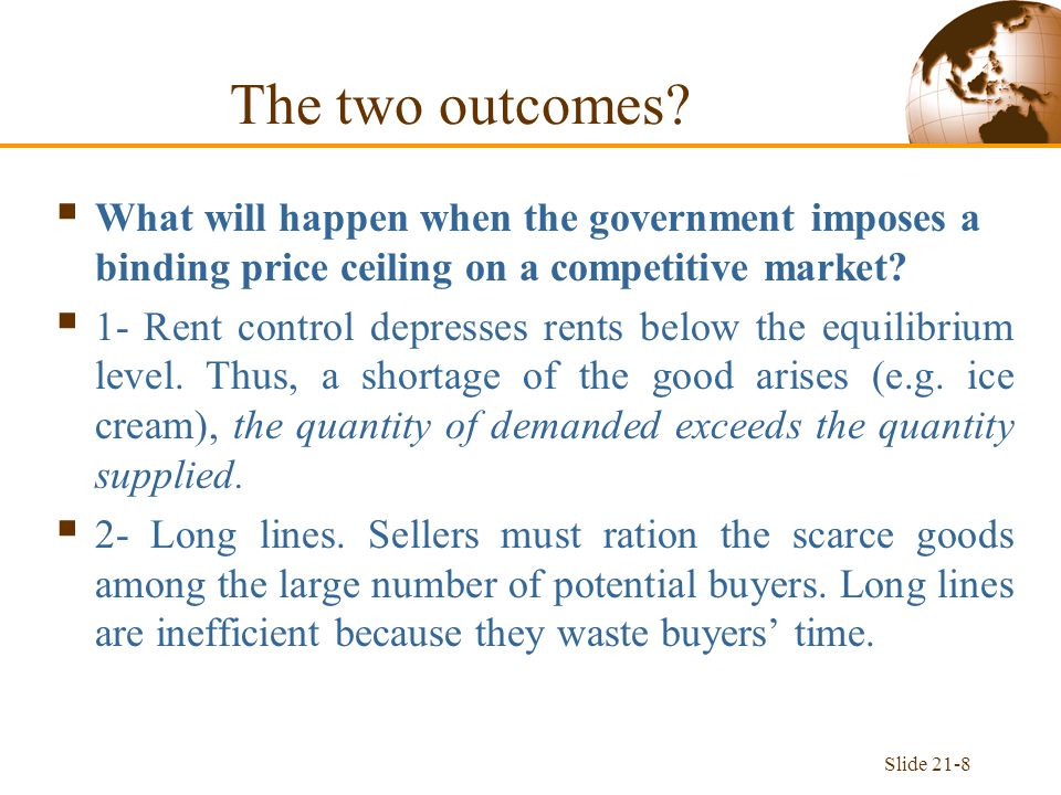 Slide 21-8  What will happen when the government imposes a binding price ceiling on a competitive market.