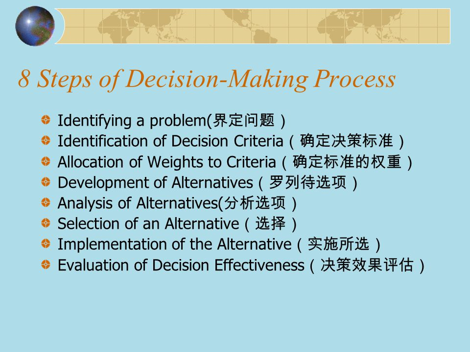 Step1 Identifying a problem ( 界定问题) What is problem.