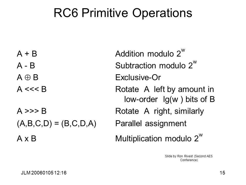 JLM 20060105 12:1615 RC6 Primitive Operations A + BAddition modulo 2 w A - BSubtraction modulo 2 w A  BExclusive-Or A <<< BRotate A left by amount in low-order lg(w ) bits of B A >>> B Rotate A right, similarly (A,B,C,D) = (B,C,D,A) Parallel assignment A x BMultiplication modulo 2 w Slide by Ron Rivest (Second AES Conference)
