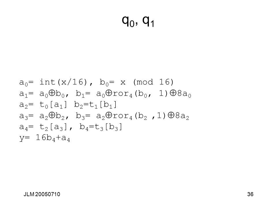 JLM 2005071036 q 0, q 1 a 0 = int(x/16), b 0 = x (mod 16) a 1 = a 0  b 0, b 1 = a 0  ror 4 (b 0, 1)  8a 0 a 2 = t 0 [a 1 ] b 2 =t 1 [b 1 ] a 3 = a 2  b 2, b 3 = a 2  ror 4 (b 2,1)  8a 2 a 4 = t 2 [a 3 ], b 4 =t 3 [b 3 ] y= 16b 4 +a 4