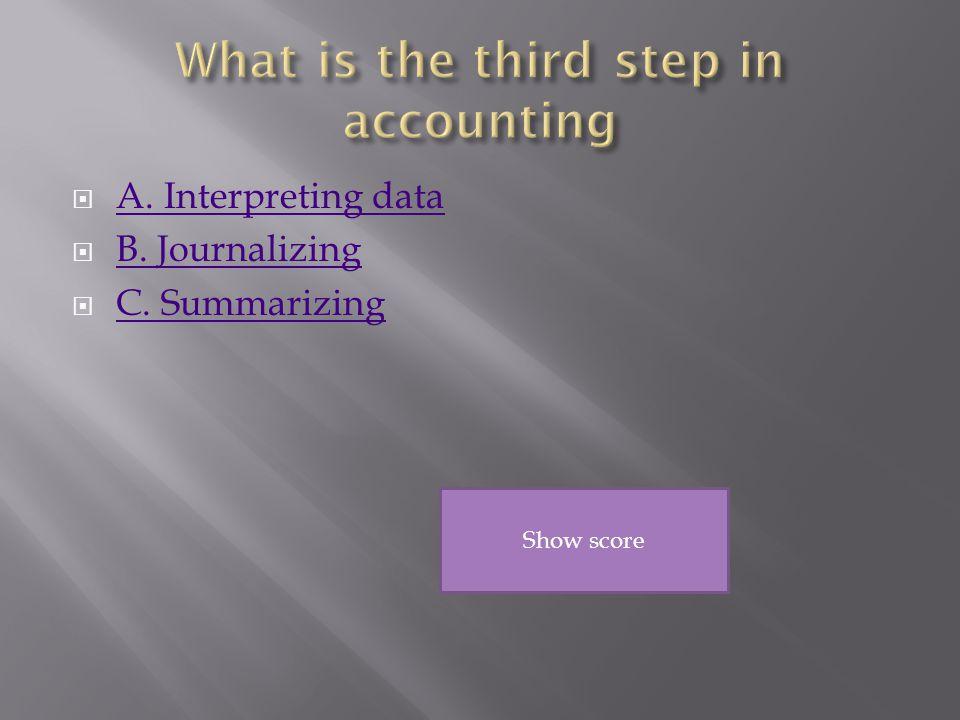  A. Interpreting data A. Interpreting data  B.