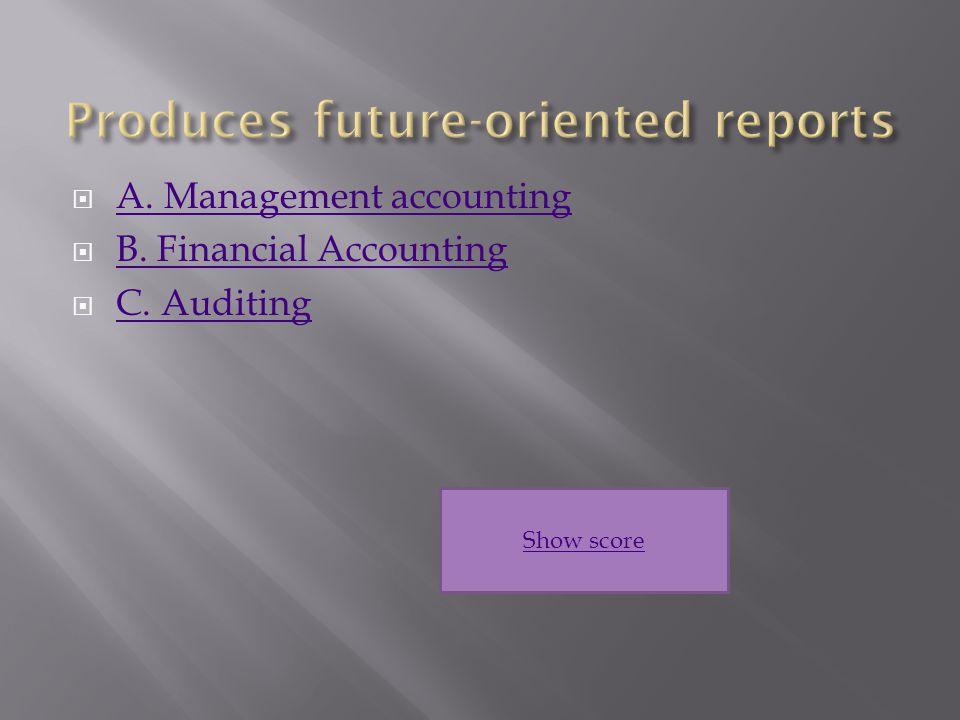  A. Management accounting A. Management accounting  B.