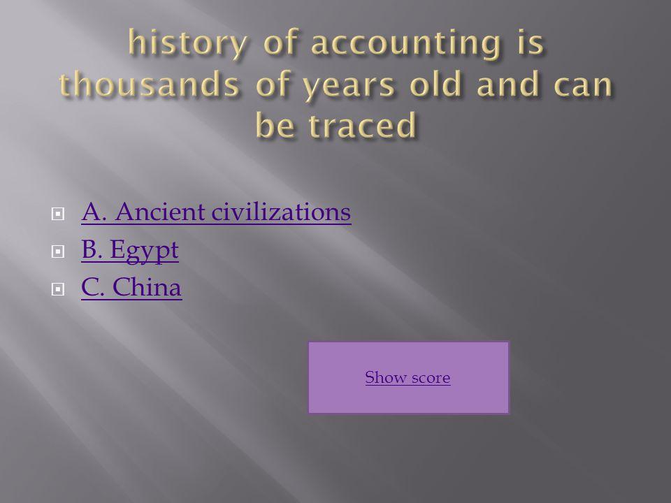  A. Ancient civilizations A. Ancient civilizations  B.