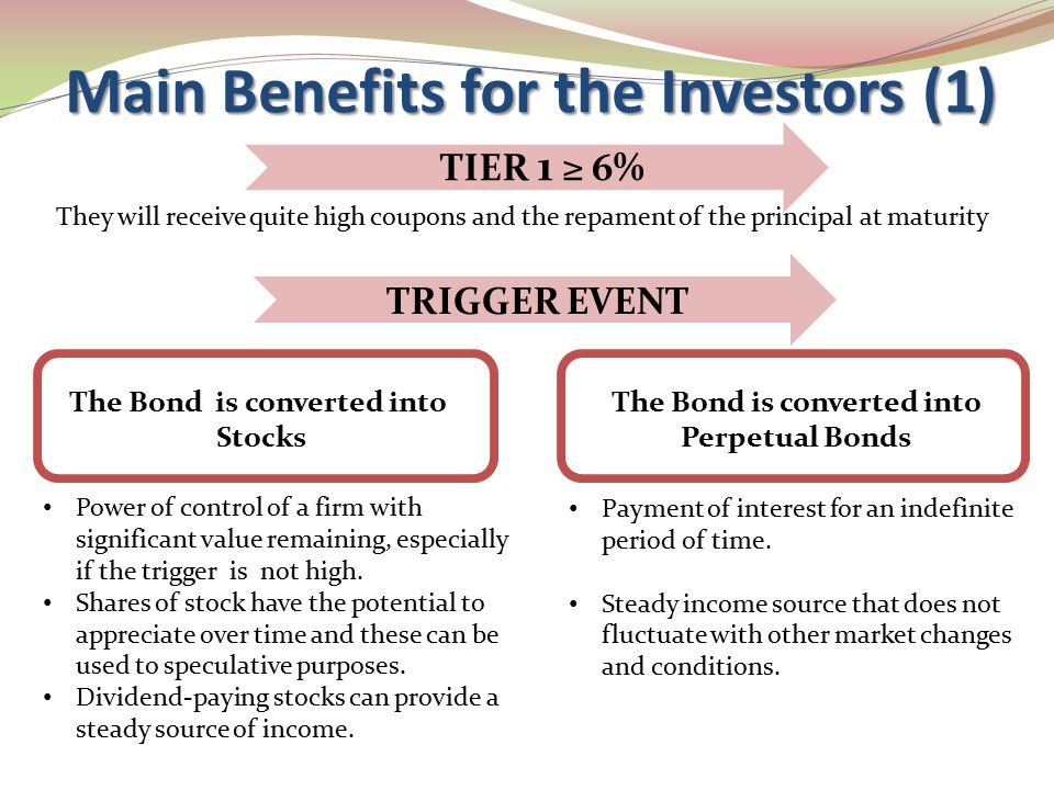 Main Benefits for the Investors (1) TRIGGER EVENT Power of control of a firm with significant value remaining, especially if the trigger is not high.
