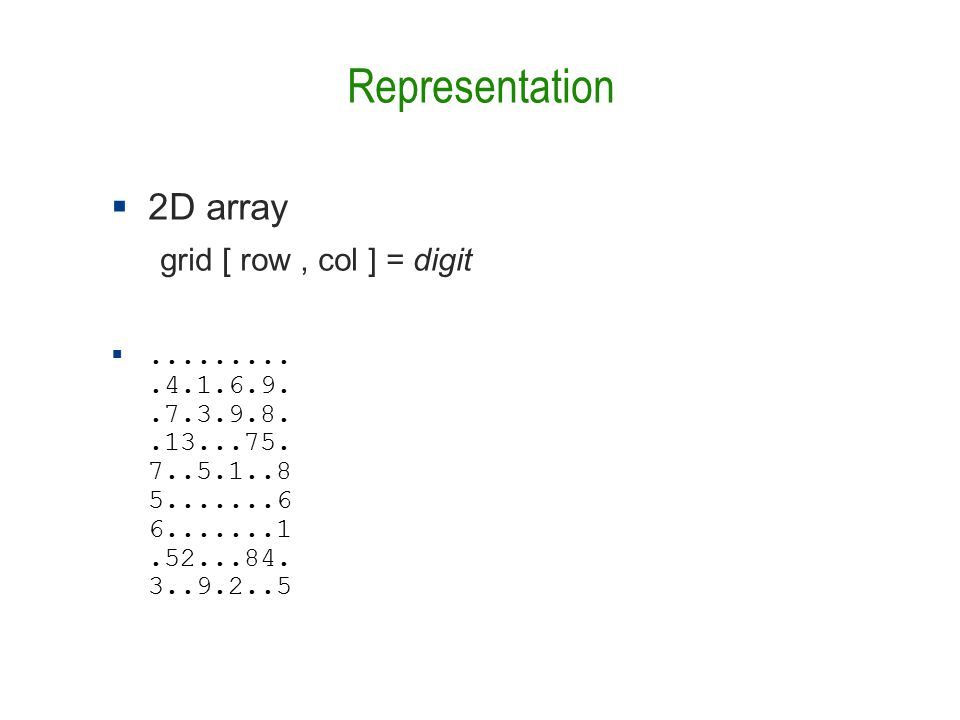 Representation  2D array grid [ row, col ] = digit ..........4.1.6.9..7.3.9.8..13...75.