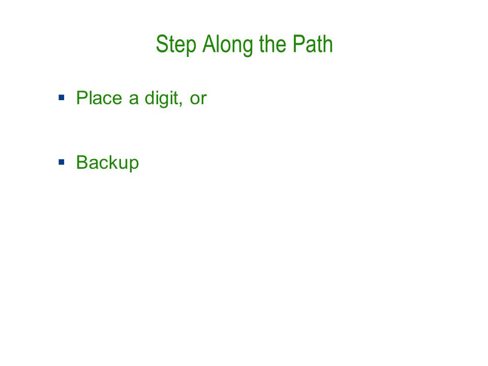 Step Along the Path  Place a digit, or  Backup