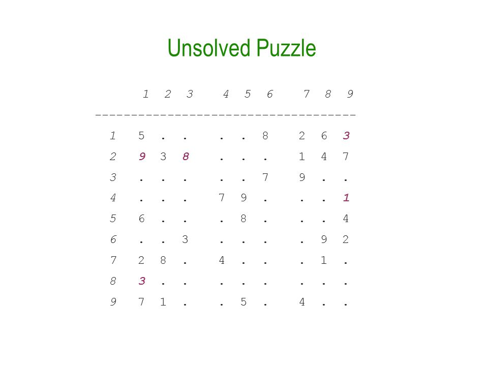 Unsolved Puzzle 1 2 3 4 5 6 7 8 9 ------------------------------------ 1 5....