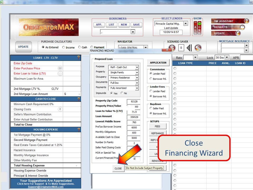 Close Financing Wizard