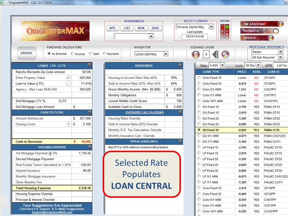 Selected Rate Populates LOAN CENTRAL