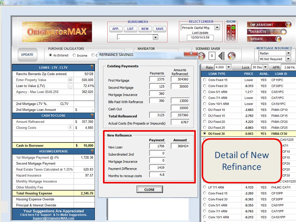 Detail of New Refinance