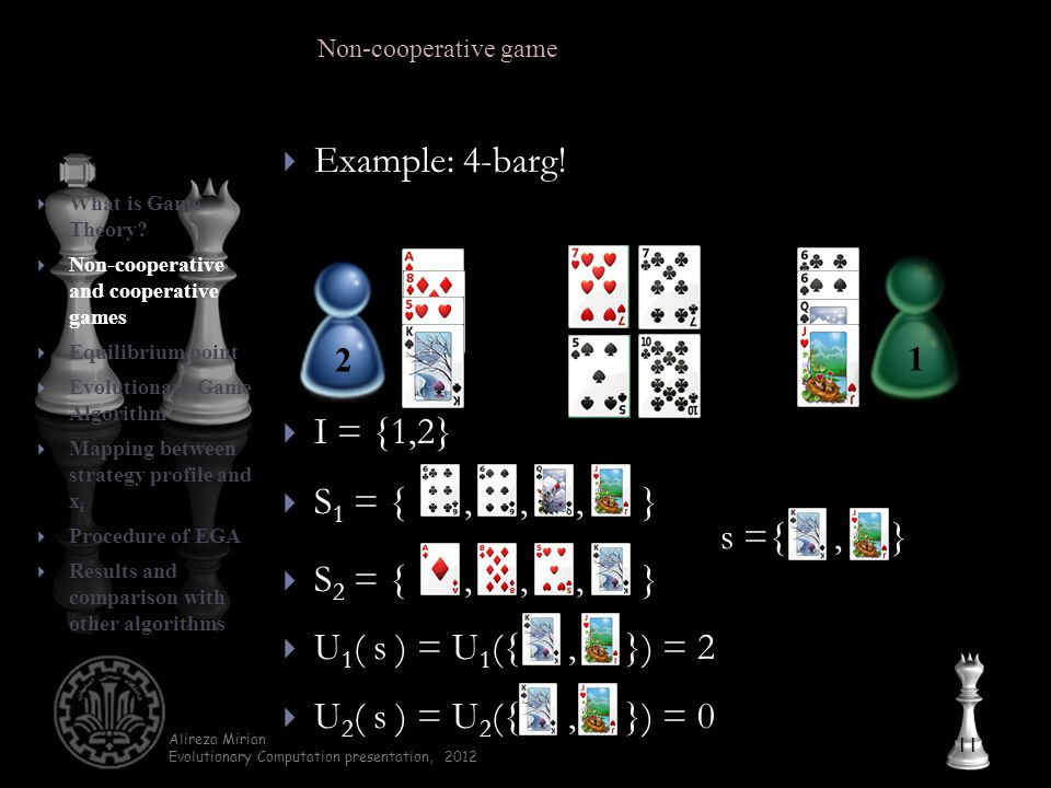 Alireza Mirian Evolutionary Computation presentation, 2012  Example: 4-barg.